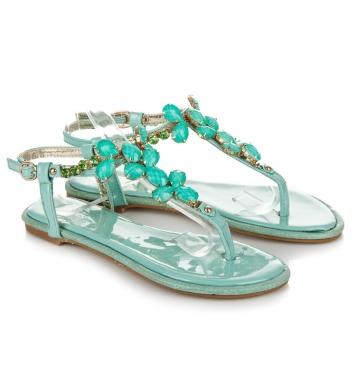 Nádherné mentolové lakované dámske sandále - 7161-45MI
