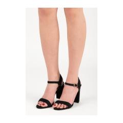 Dámske čierne sandále na stĺpcovom podpätku - LE18-2852B