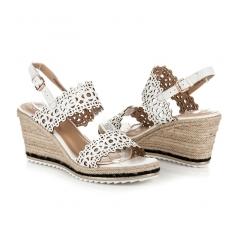 Dámske biele ažúrové sandále na kline - K1600909BLA