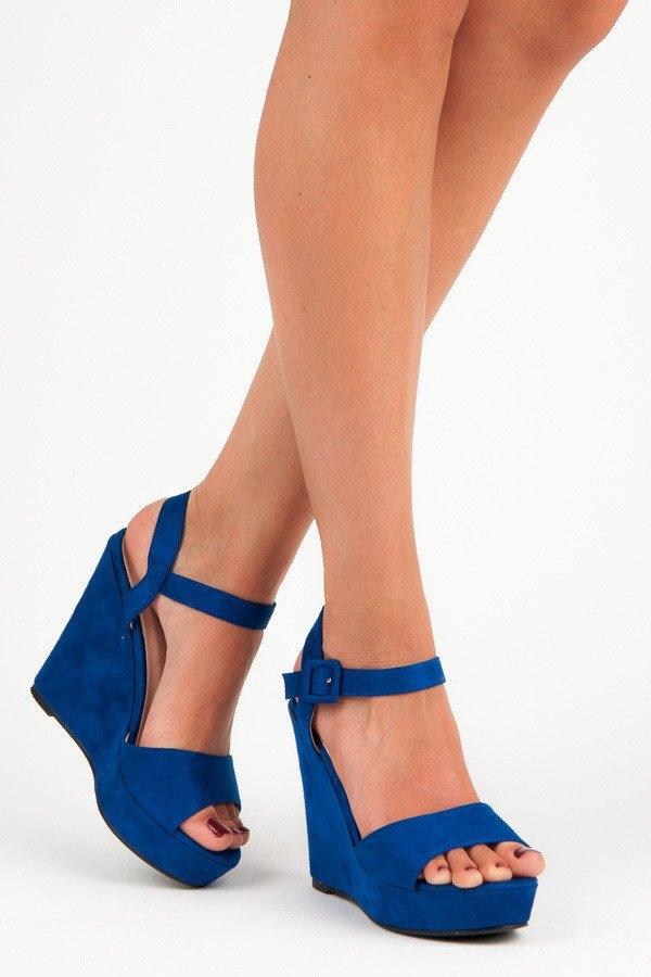 3480dff1612ea Dámske modré sandále na kline - JS8011BL | dawien.sk
