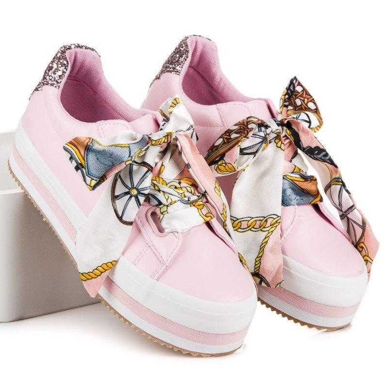 4dd2520df5a3 Dámske ružové tenisky na platforme - 8379-20P