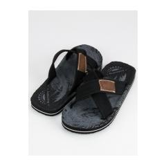Pánske čierne textilné šľapky  - A8910B