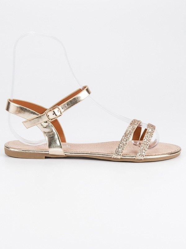 33446caf5e80 Dámske zlaté ploché sandále - B052-07170628GO
