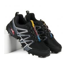 Pánske čierne trekingové topánky - A8236B