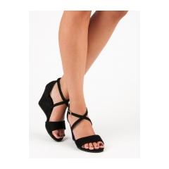 1213f6c8debda Dámske čierne semišové sandále na kline - 266-6B