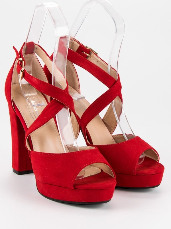 decc36df8b424 Dámske červené sandále na platforme - AC-6R   dawien.sk