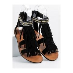 bc375038aa7f Dámske čierne ploché sandále so strapcami - SD4257B