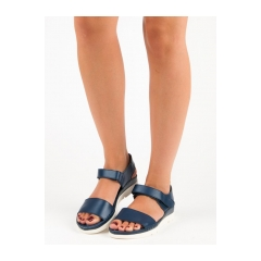 Dámske modré kožené sandále  - DS149/18N