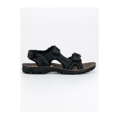 Pánske čierne kožené sandále - 0S2397B