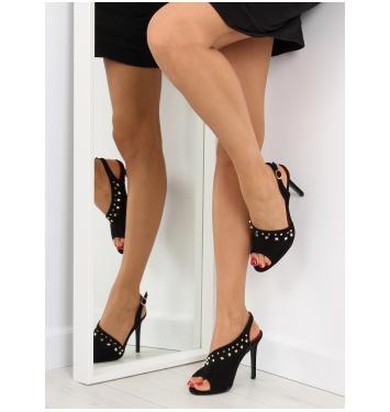 Dámske čierne asymetrické sandále na podpätku- GH-268