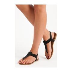 Dámske čierne sandále s gumičkou  - ALS023B