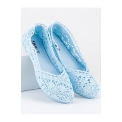 Dámske modré krajkové balerínky - JX59L.BL