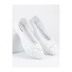 Dámske biele krajkové balerínky - JX59W