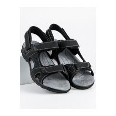 Pánske čierne sandále na suchý zips  - S2399B