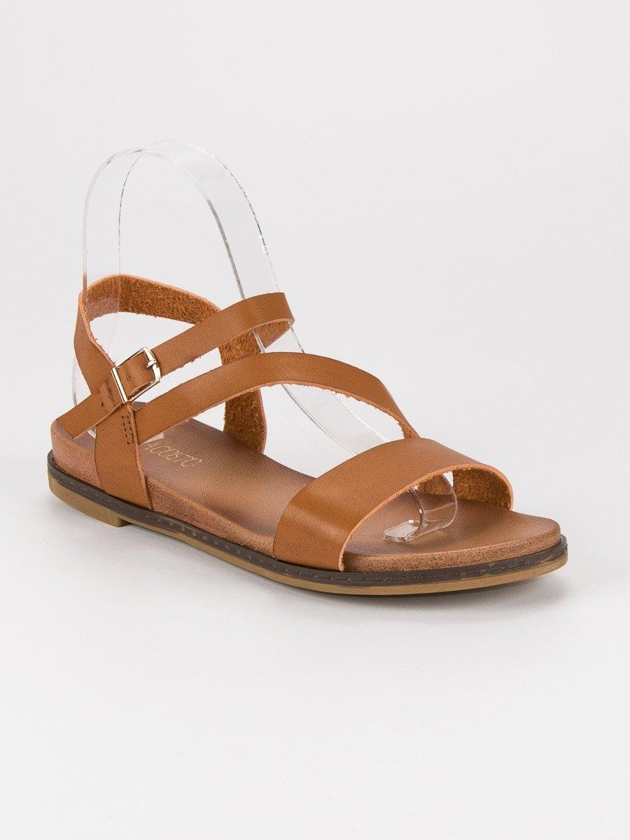54a711733788 Pohodlné dámske hnedé sandále - F5925C