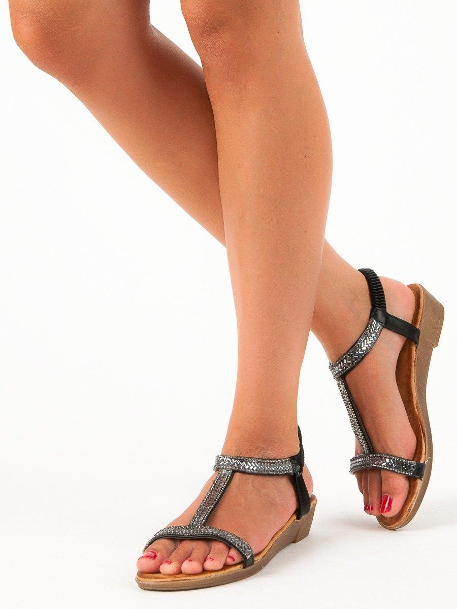 a3ae5e1dcd63 Dámske čierne sandále s gumičkou - 35-130B