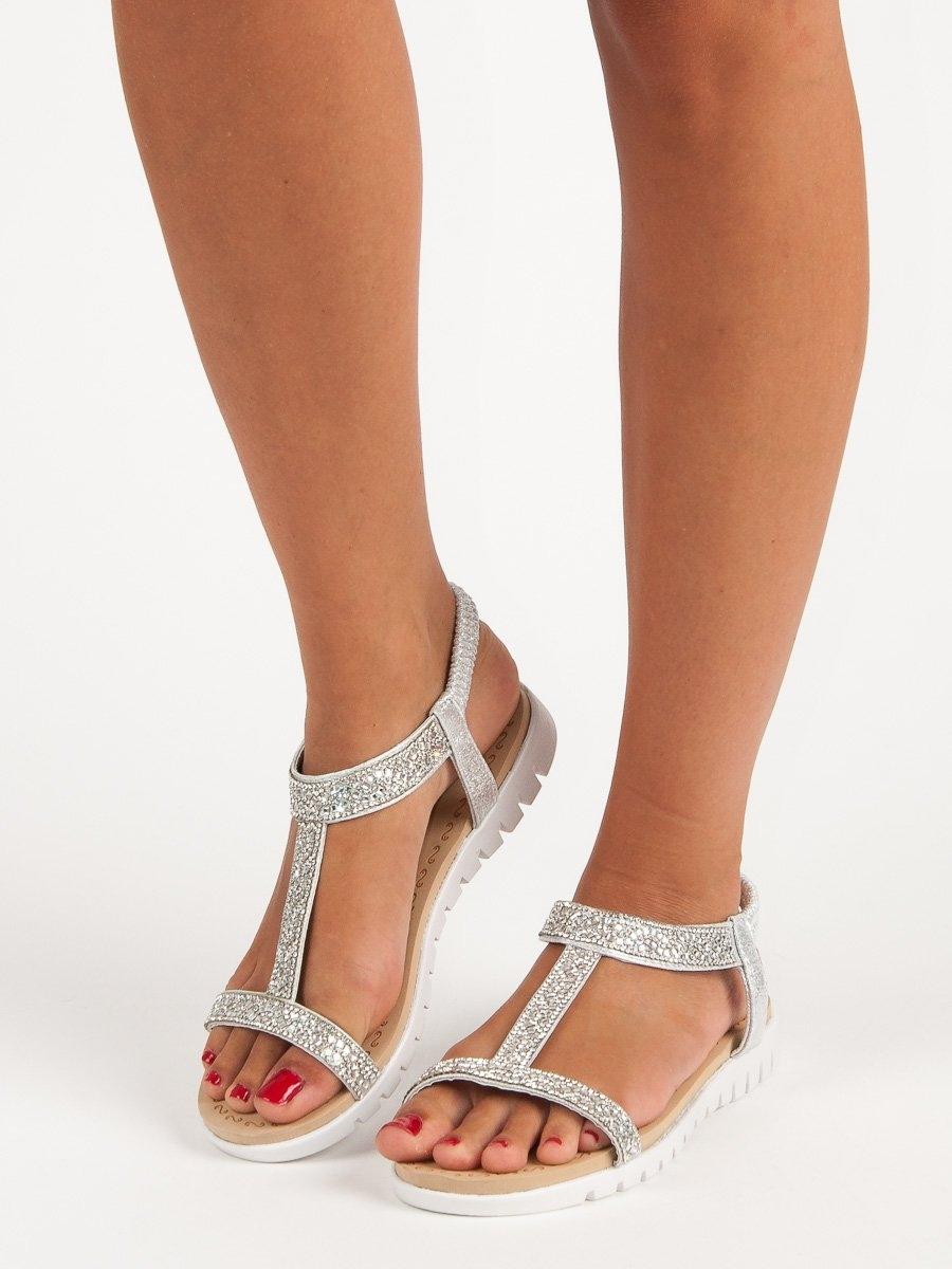 fa17c5e8ec52 Pohodlné dámske strieborné sandále s gumičkou - 9901S