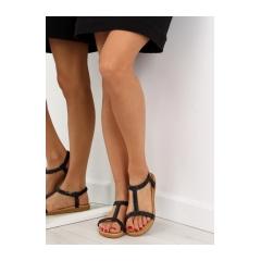 Dámske ploché čierne sandále - FM5035