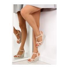 Dámske ružové sandále na kline - 680-30