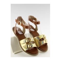 Štýlové zlaté sandále s bielou podrážkou - 2015l-139-3w