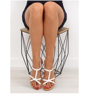 Dámske biele ploché sandále - 5132