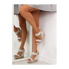 Dámske šedé sandále na kline - 3811-7