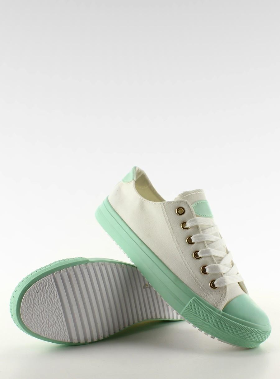 Dámske biele tenisky na zelenej podrážke - w-3051  e62c1419d23