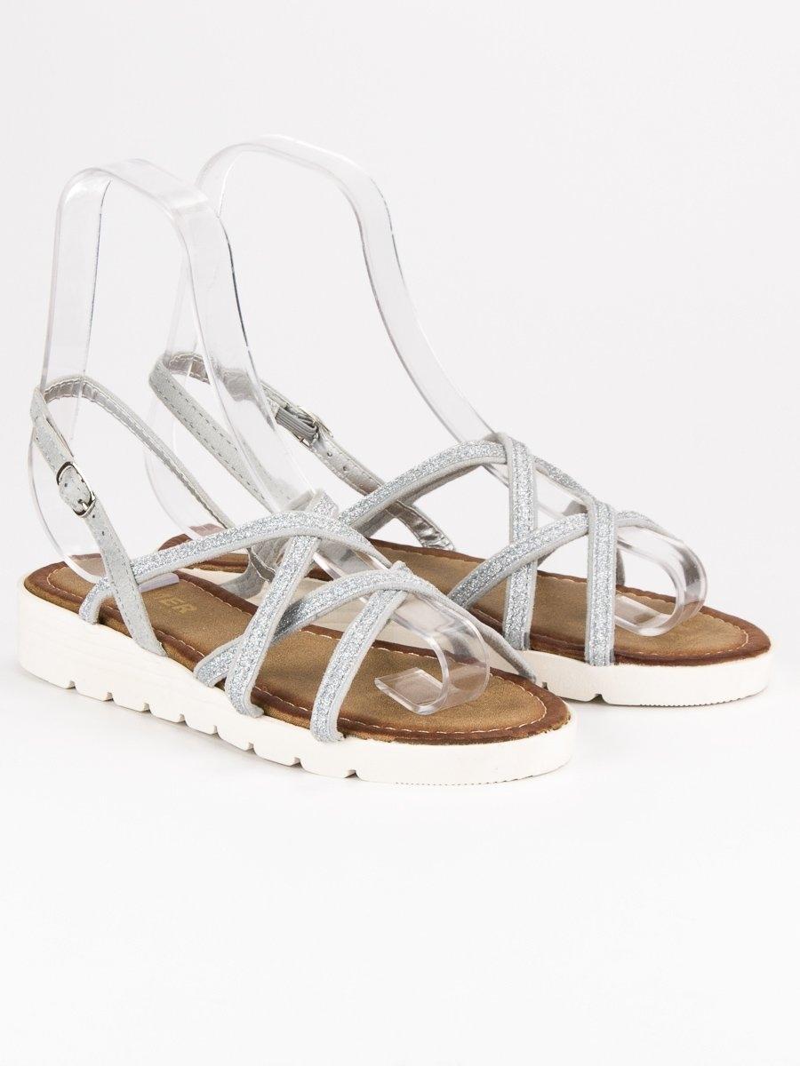 e1646f2827c7 Dámske pohodlné strieborné sandále - ALS018S