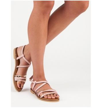 Dámske ružové ploché sandále  - S57P