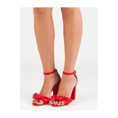 Dámske červené semišové sandále  - 118-11R