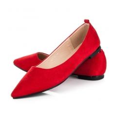 Dámske červené balerínky - 127-32R