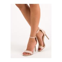 Dámske béžové semišové sandále  - SY31BE