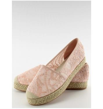 Ružové krajkové espadrilky s flitrami - 7137