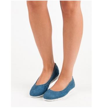 Dámske modré džínsové balerínky  - DP037/18JE