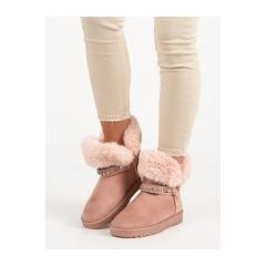 Dámske ružové snehule s kožúškom  - DD61P