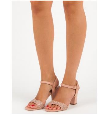 Elegantné dámske ružové sandále  - F511P
