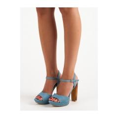 Dámske modré džínsové sandále  - 9833-4LT.BL