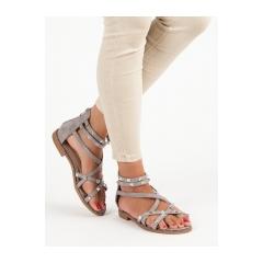 Dámske šedé sandále na zips - 358G