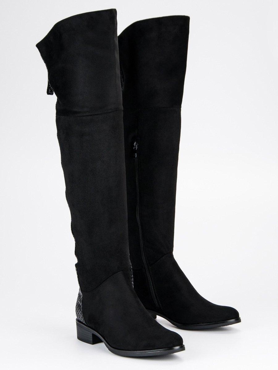 2ca5435a3753 Dámske čierne semišové čižmy nad kolená - DKZ379 17B