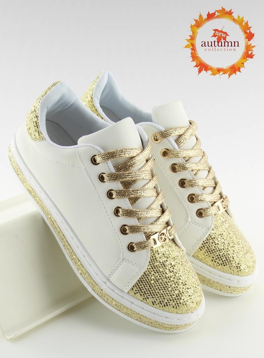 b254f585fc10 Dámske bielo zlaté tenisky - BK-81