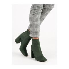 Dámske zelené semišové členkové topánky  - C7980A-KH