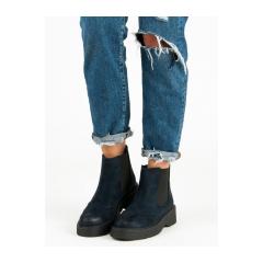 Pohodlné dámske modré členkové topánky  - C7772AZ