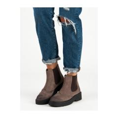 Pohodlné dámske hnedé členkové topánky  - C7772TA