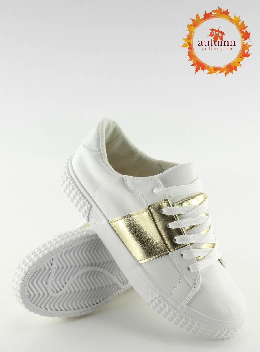98128110899b Dámske bielo zlaté tenisky - M896