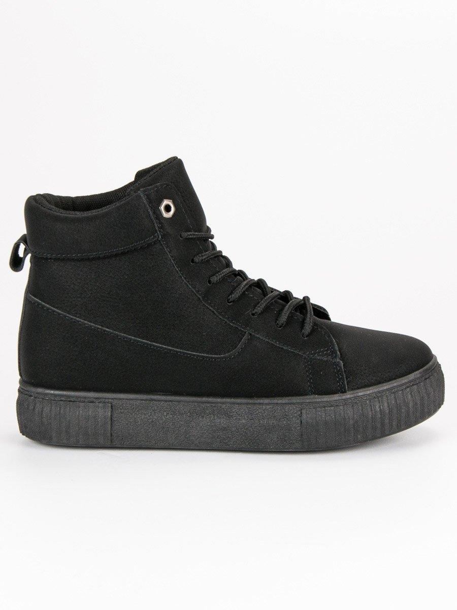 Dámske čierne športové členkové topánky - 892-PA-B  bb1c8dcce49