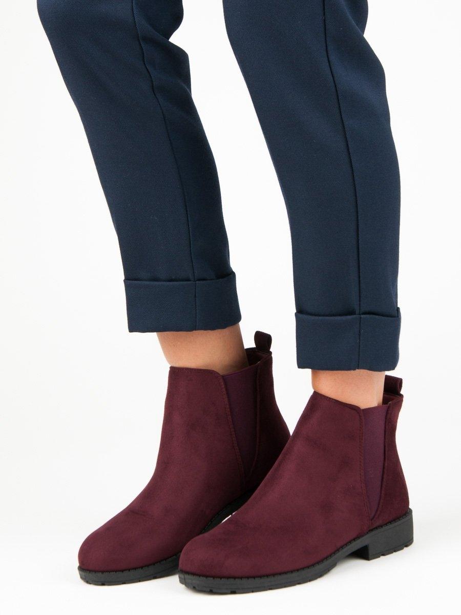 Dámske bordové semišové členkové topánky - LJ113RO  0831ea267a5