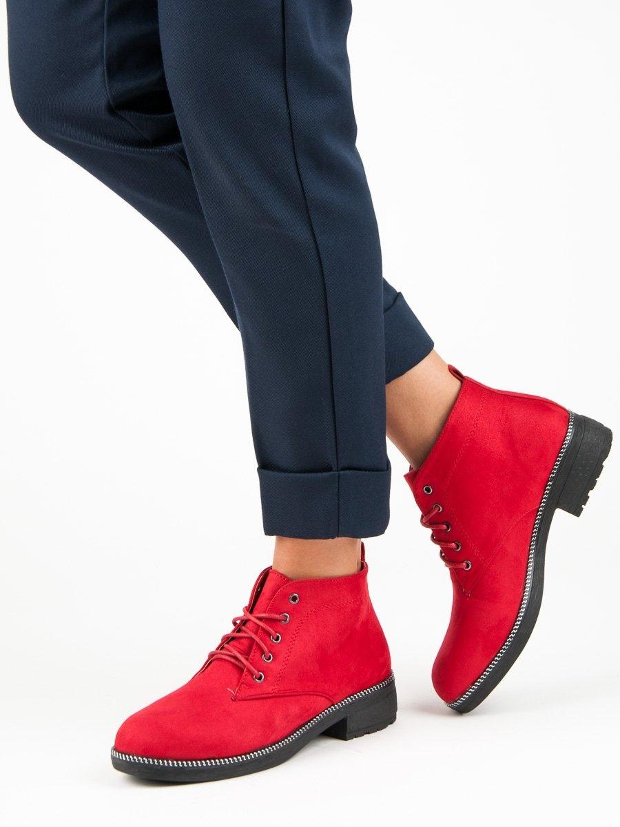 596a6f2779b7 Dámske červené členkové topánky - MB188-262R