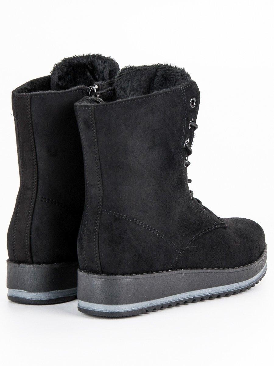 38383efc796bf Dámske čierne teplé členkové topánky - 6207B | dawien.sk