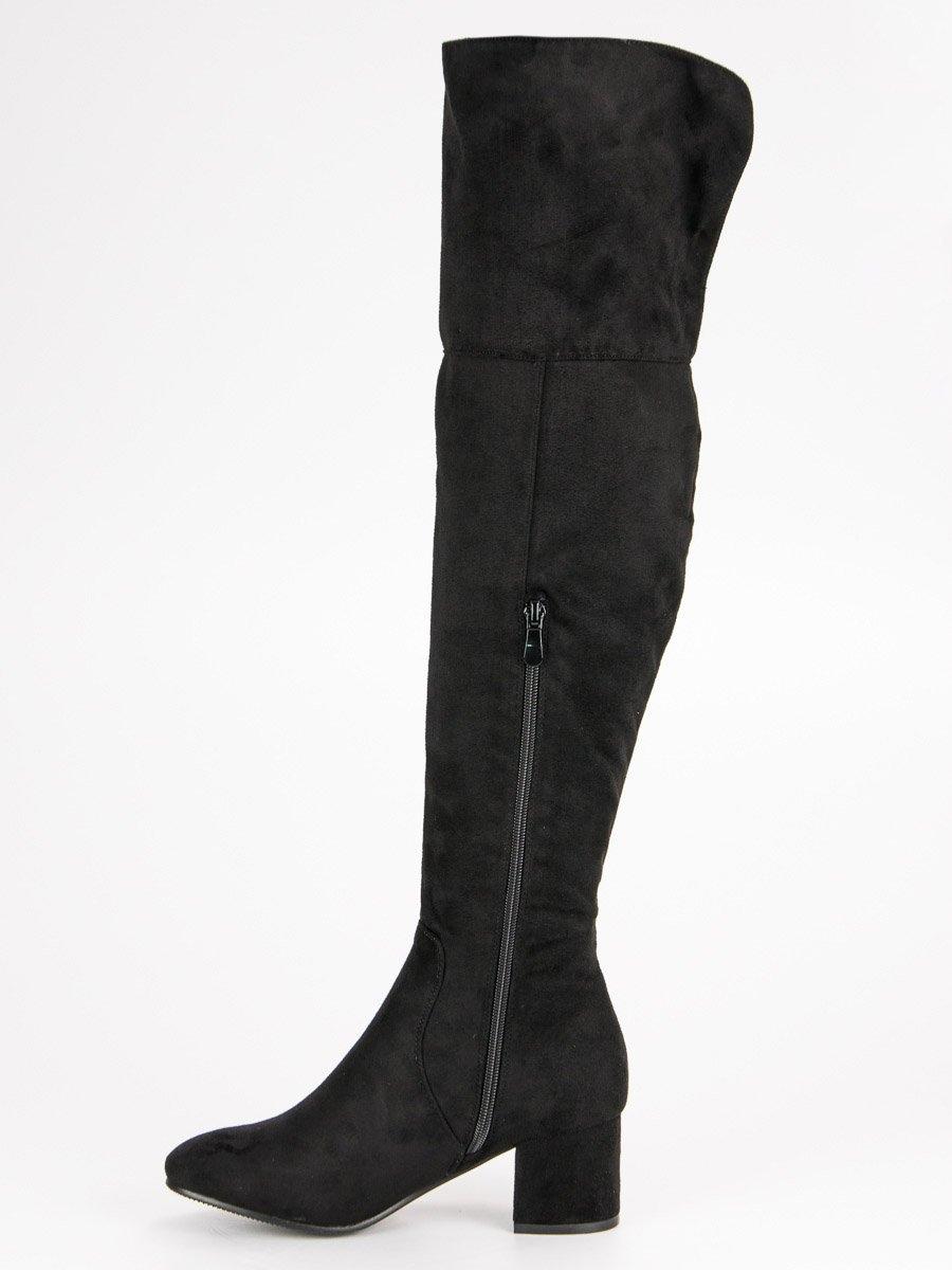 94ba9840e0f9 Dámske čierne semišové čižmy nad kolená - PE185B