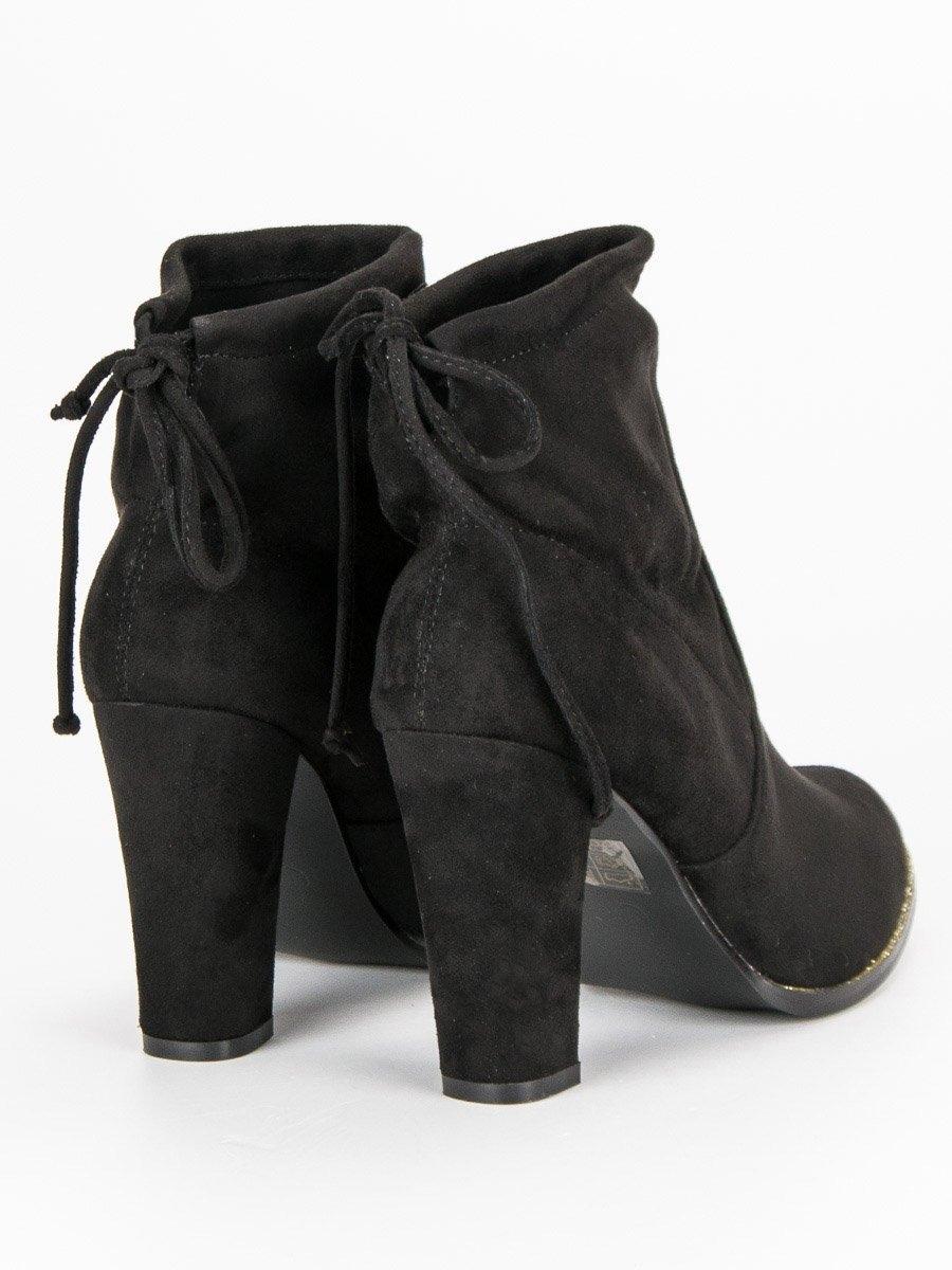 28b0b5ce0 Dámske čierne členkové topánky na podpätku - S17003B | dawien.sk